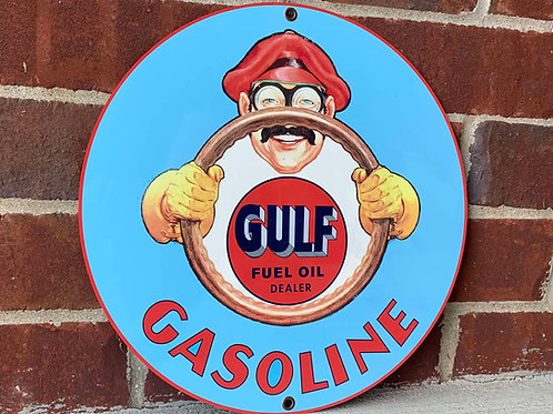 Gulf Gasoline Dealer Vintage StyleSign