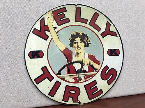 KELLY TIRES WEATHERED GARAGE VINTAGE ROUND METAL SIGN