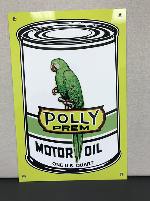 POLLY MOTOR OIL CAN  REPRODUCTION SIGN