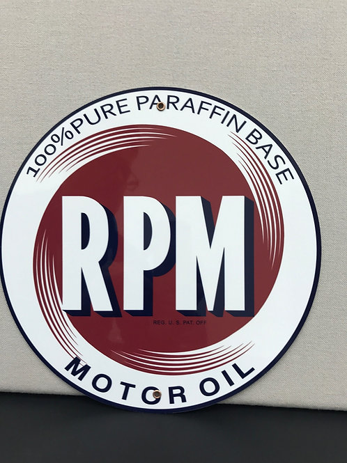 RPM MOTOR OIL REPRODUCTION SIGN