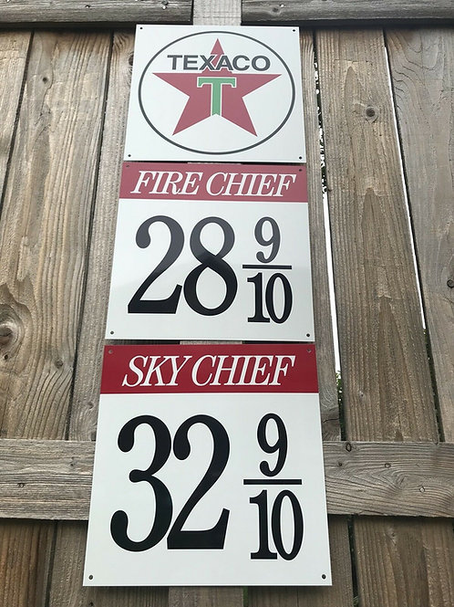 TEXACO FIRE & SKY CHIEF - 3 PIECE SIGN