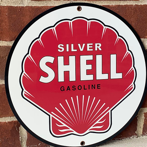 Silver Shell Gasoline Red Vintage Style Sign
