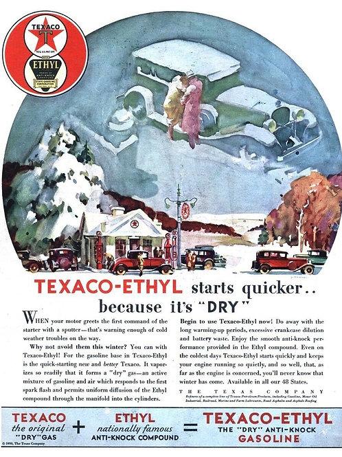 Texaco Ethyl Gasoline Vintage Sign