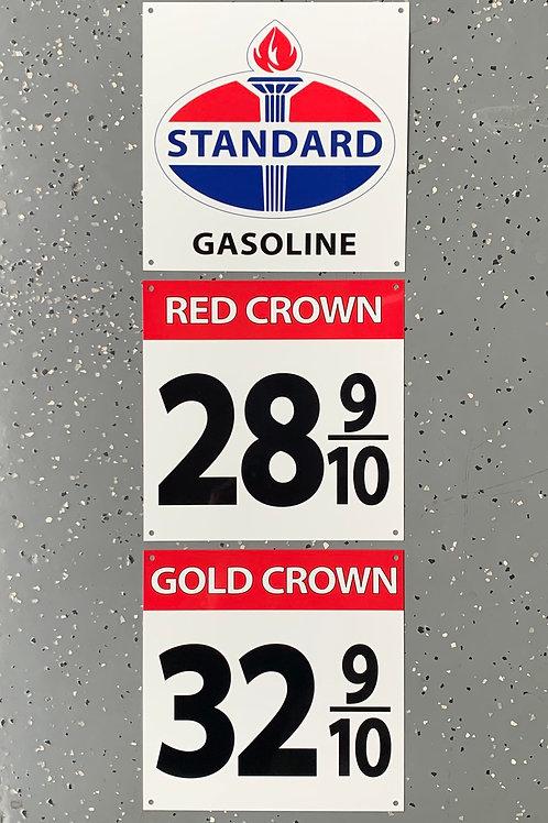 Standard Gasoline 3-piece Vintage Style Sign