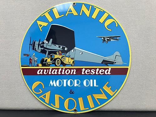 ATLANTIC GASOLINE OIL AVIATION VINTAGE ROUND METAL SIGN REPRODUCTION