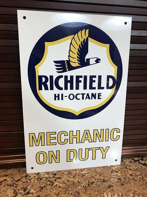 Richfield Mechanic On Duty Sign