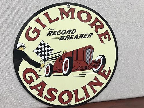 GILMORE RECORD BREAKER GASOLINE REPRODUCTION SIGN