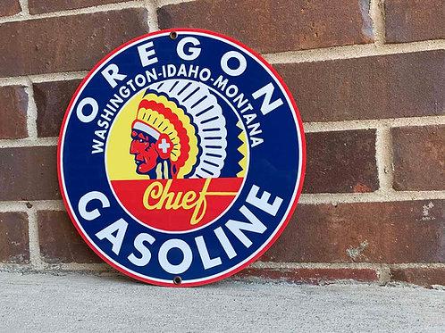 Chief Gasoline Oregon Vintage Style Sign