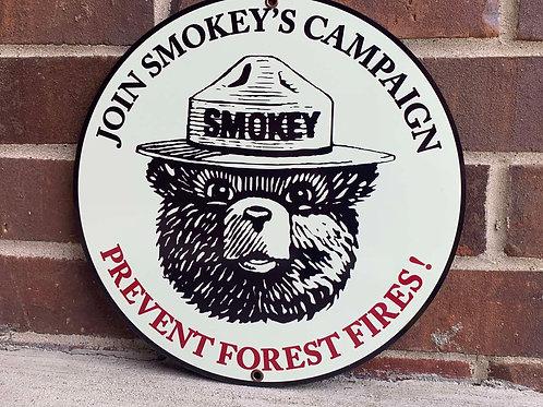 SMOKEY THE BEAR REPRODUCTION SIGN