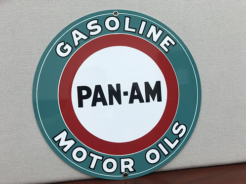 PAN AM GASOLINE MOTOR OILS REPRODUCTION SIGN