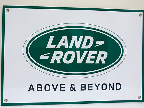 LAND ROVER ABOVE AND BEYOND REPRODUCTION SIGN