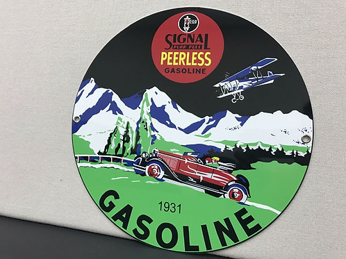 SIGNAL PEERLESS GASOLINE REPRODUCTION SIGN