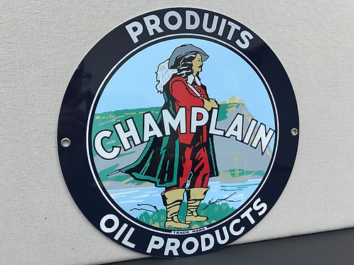 CHAMPLAIN OIL PRODUCTS REPRODUCTION SIGN