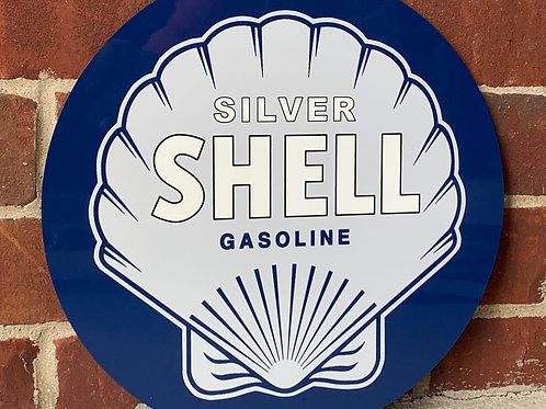 Silver Shell Gasoline Blue Vintage Style Sign