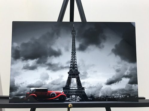 RED CAR PARIS EIFFEL TOWER HI DEF METAL ART