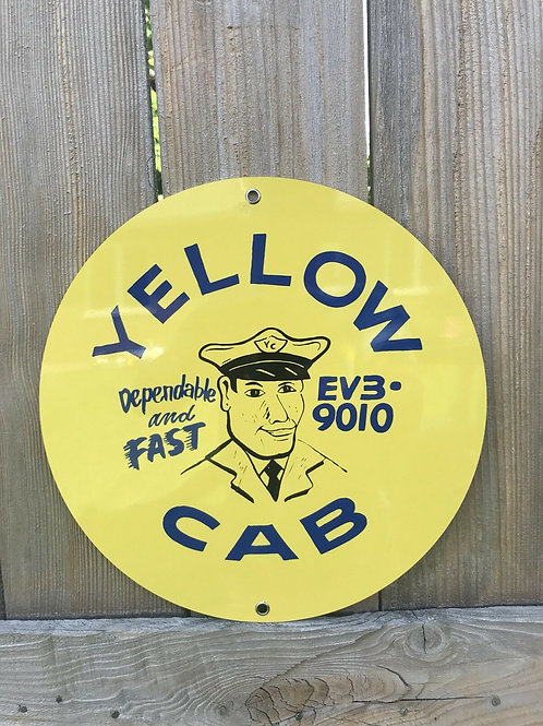 Yellow Cab Taxi Vintage Sign