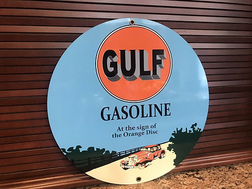 Gulf Gasoline Dealer Vintage Sign