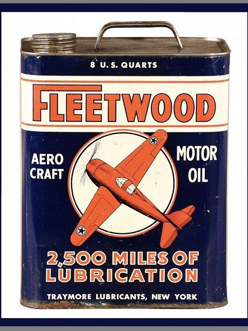 Fleetwood Aero Motor Oil Can Vintage Sign