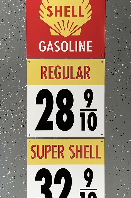 3 PIECE SHELL GASOLINE RARE VINTAGE SIGN