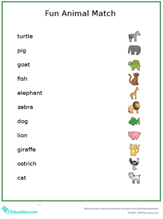 Free reading skills worksheet: Animals!