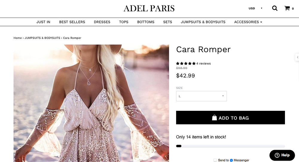 Screenshot of the website & what I thought I was purchasing
