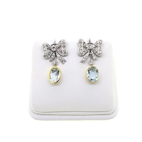 Aquamarine and diamond cluster earrings