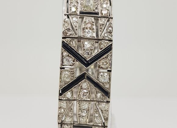 Art Deco diamond and onyx bracelet.