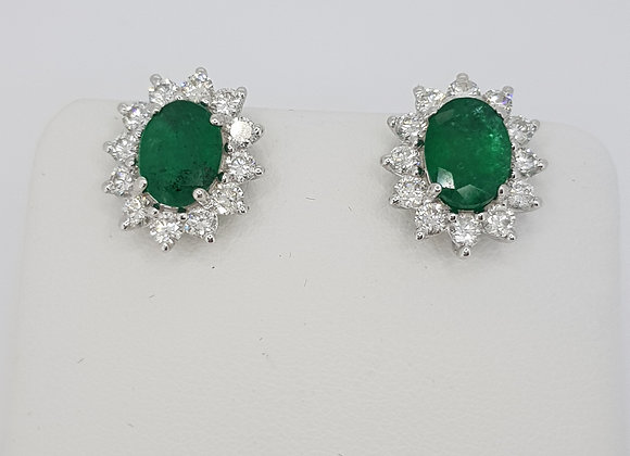 Emerald and diamond cluster earrings s2.54cts d1.20cts