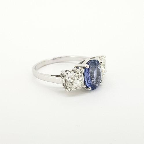Natural sapphire and diamond three stone ring cert.