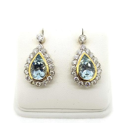 Aquamarine and diamond cluster earrings Aq5.0Cts D2.0Cts