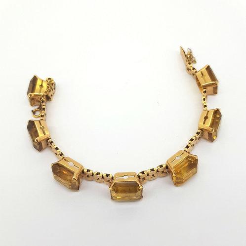 1960s Yellow gold Citrine bracelet