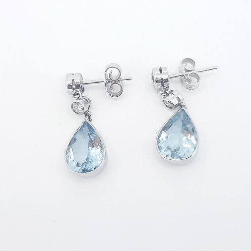 Aquamarine and diamond drop earrings A4.0CTS D0.66CTS