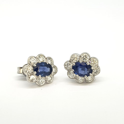 Sapphire and diamond cluster earrings S2.05Cts D1.10Cts