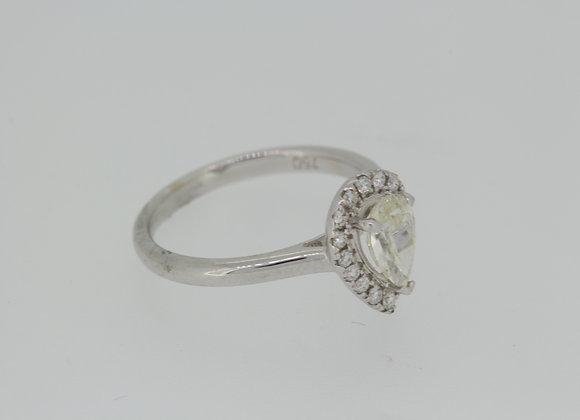Teardrop diamond halo ring.