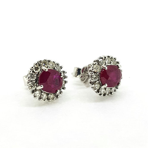 Ruby and diamond cluster studs R2.15Cts D0 51Cts