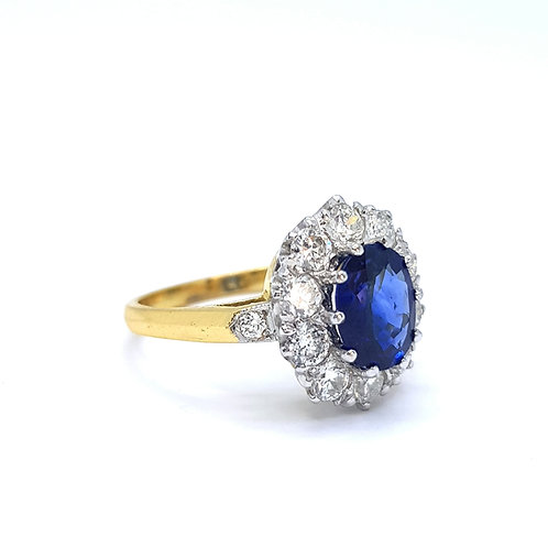 Sapphire and diamond cluster ring S1.50CTS D1.0CTS