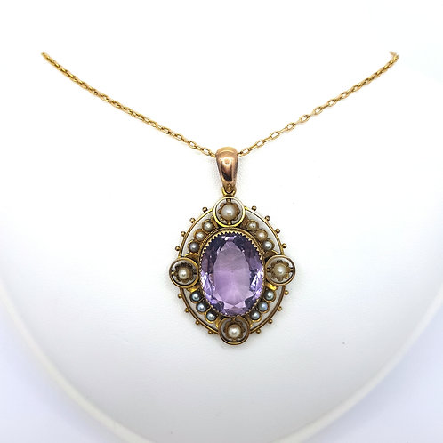 Antique amethyst  and pearl pendant