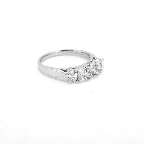 Platinum five stone oval diamond ring d1.0cts