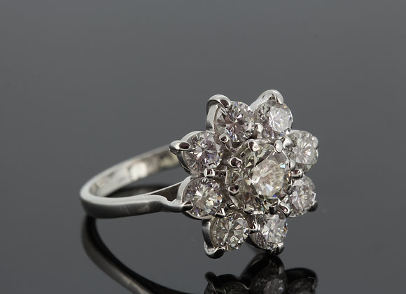 Platinum daisey cluster diamond ring d2.51cts