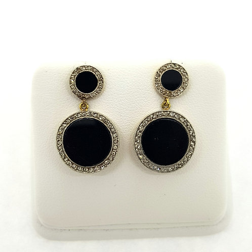 Onyx and diamond reworked Antique earrings