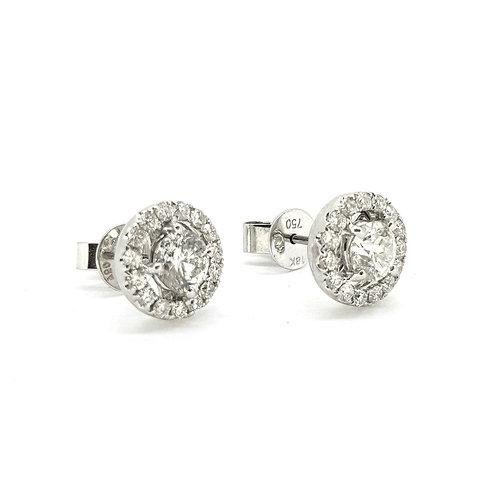 Fixed diamond halo studs 1.50ct