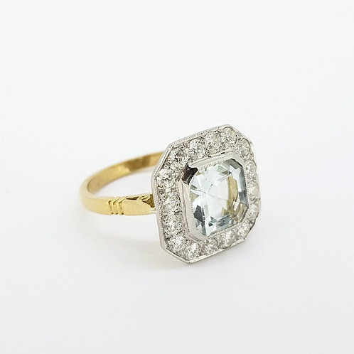 Aquamarine and diamond cluster ring platinum A2.30CTS D0.75CTS