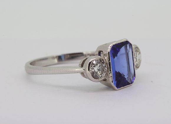 Tanzanite and diamond three stone ring