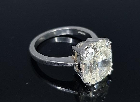 5.11 carat solitaire cushion cut diamond ring I/J Colour