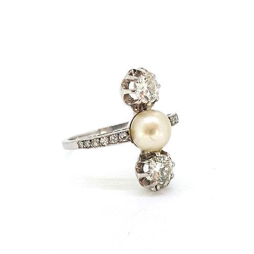 Art Deco Platinum and diamond natural pearl ring.