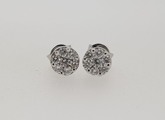 Diamond cluster stud earrings.