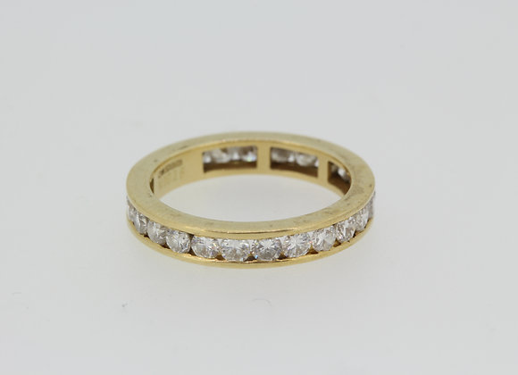 Yellow gold hallmarked 18ct full eternity ring.