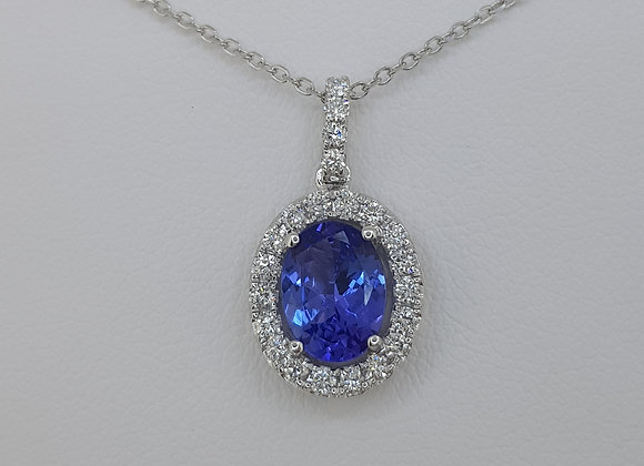 Tanzanite and diamond pendant a1.30cts d0.30cts