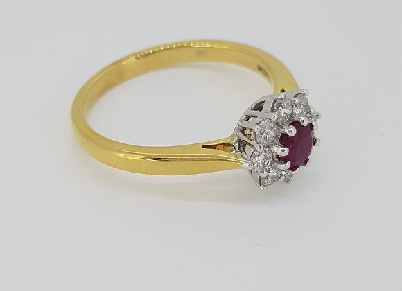 Ruby and diamond cluster ring r0.40cts d0.25cts