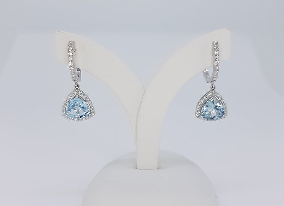 Aquamarine and diamond drop earrings a1.55cts d0.41cts